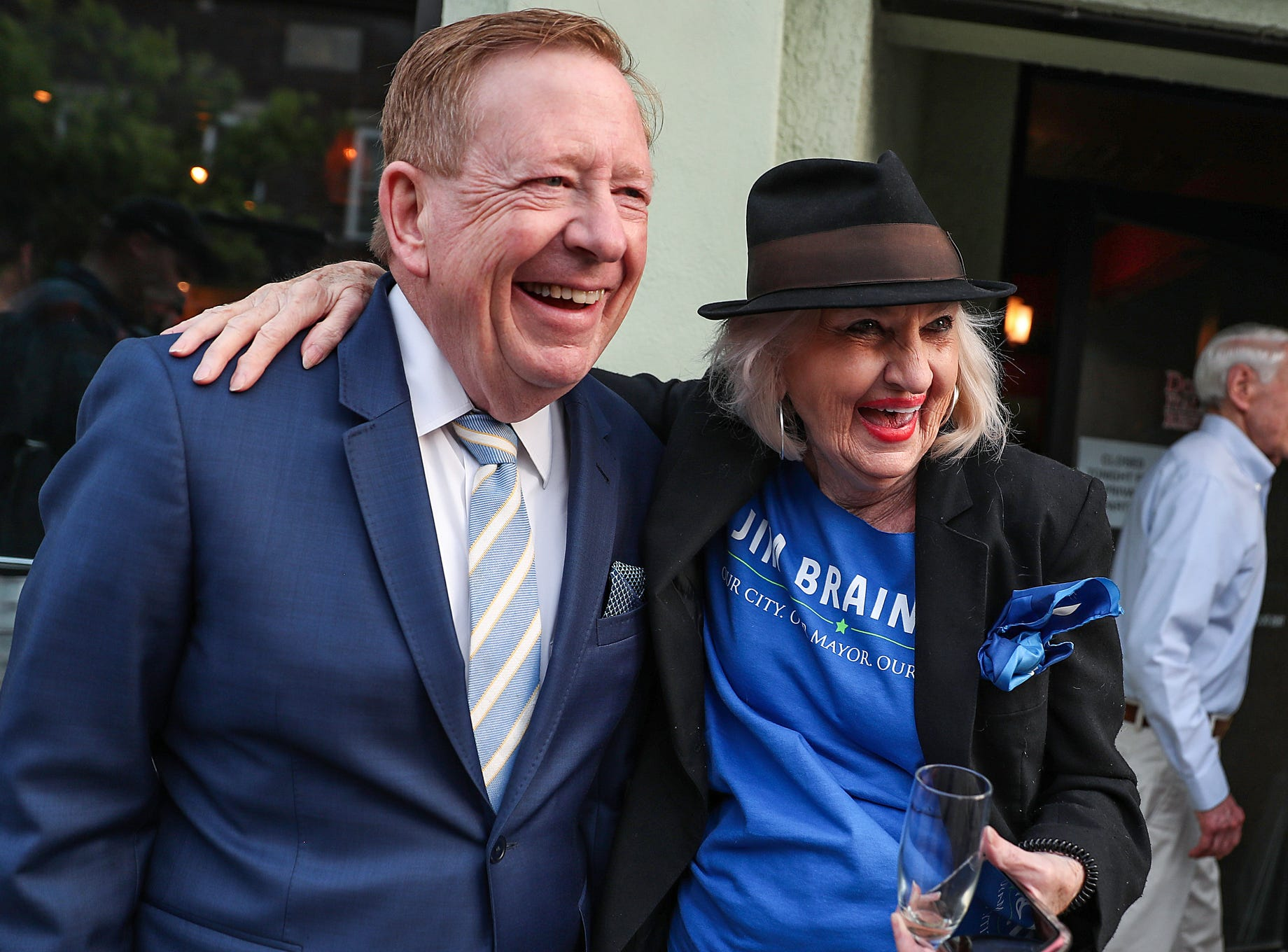 Marlene Simonds, 83, congratulates Jim Brainard as he clinches the Republican primary nomination for Carmel Mayor at DonatelloÕs Italian Restaurant in Carmel, Ind., Tuesday, May 7, 2019. This is Brainard's seventh term nomination in the Republican primary, defeating challenger Fred Glynn.