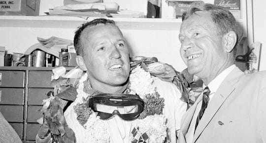 A.J. Foyt is congratulated by Tony Hulman after his first Indianapolis 500 win in 1961.