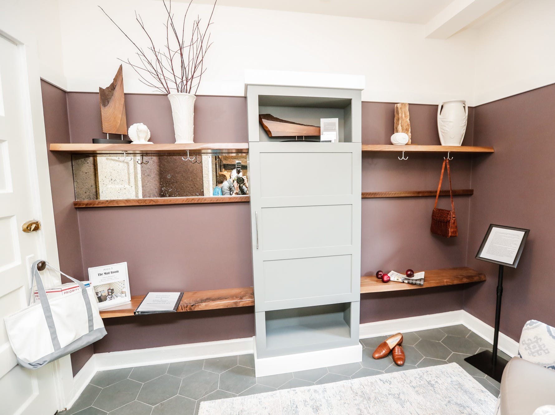 """The """"Mud Room"""", designed by MischBobrickDesign, inside The 58th annual St. Margaret's Hospital Guild Decorators' Show House and Gardens, located at 4160 Washington Blvd., Indianapolis, on Wednesday, May 8, 2019."""