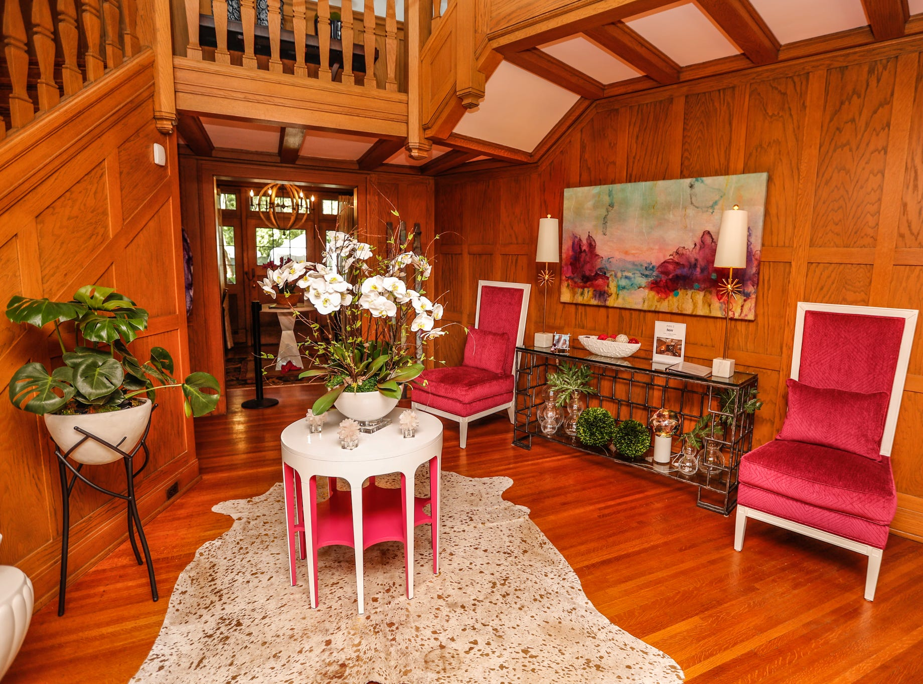 """The """"Foyer"""", designed by Lisa Hayes of Kittles Design Studio, inside The 58th annual St. Margaret's Hospital Guild Decorators' Show House and Gardens, located at 4160 Washington Blvd., Indianapolis, on Wednesday, May 8, 2019."""