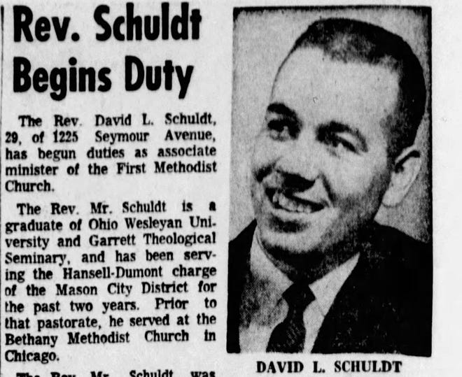 A 1965 newspaper clipping of Rev. David Lorentz Schuldt, who passed away when a car struck him while he was riding his bike Monday, May 6, 2019, in Iowa City.