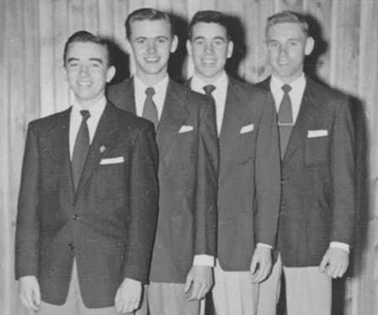 Robert Lindemeyer, Larry Abele, David Schuldt and Thomas Mikelson pose for a photo as the 1954 Clarion High Boys Quartet.