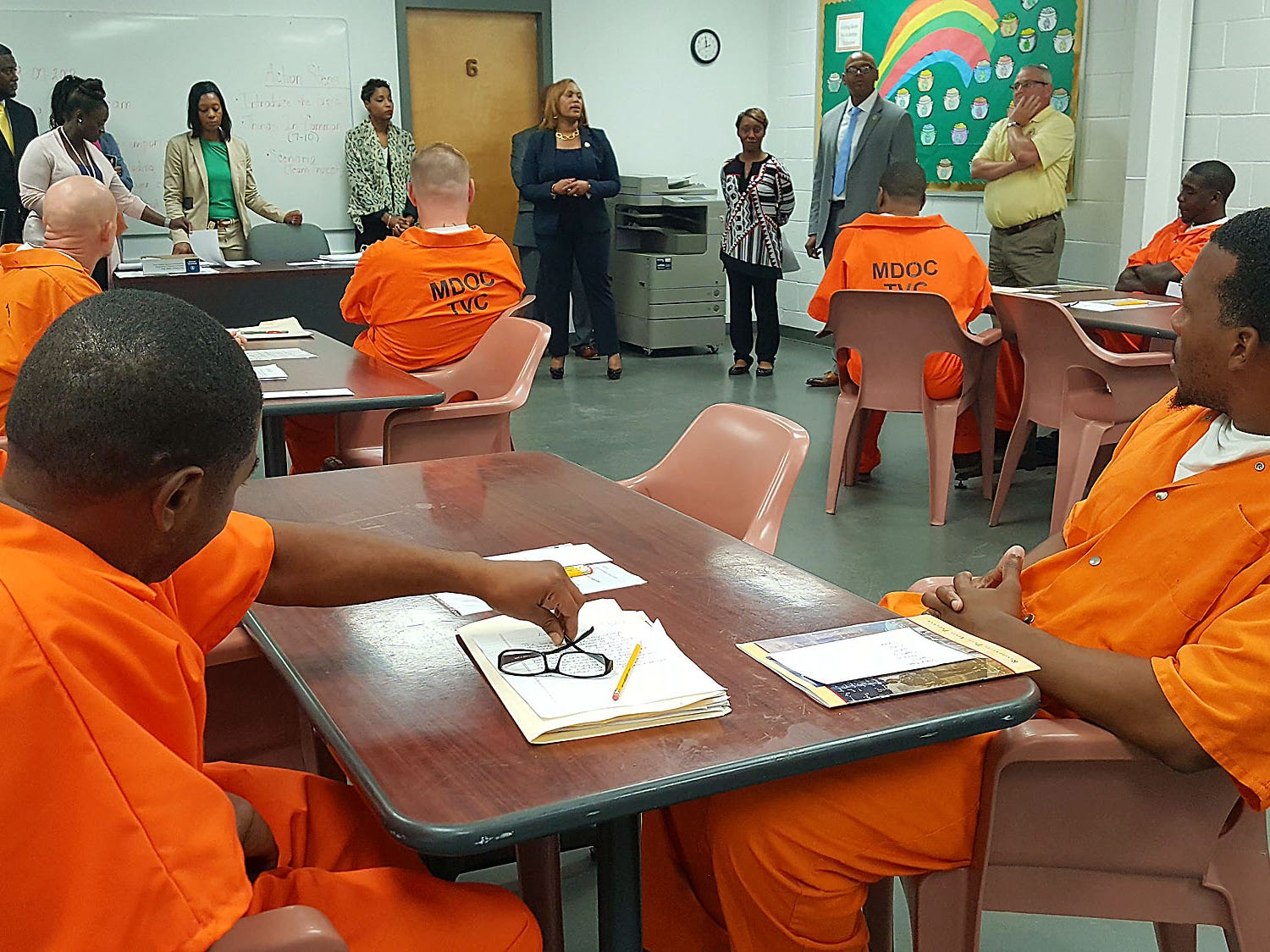 Mississippi Corrections Commissioner Pelicia Hall speaks to offenders at the Technical Violations Center in Greenwood. The center, housed in the old Delta Correctional Facility, is designed to keep offenders from returning to prison if they're only guilty of a few technical violations.