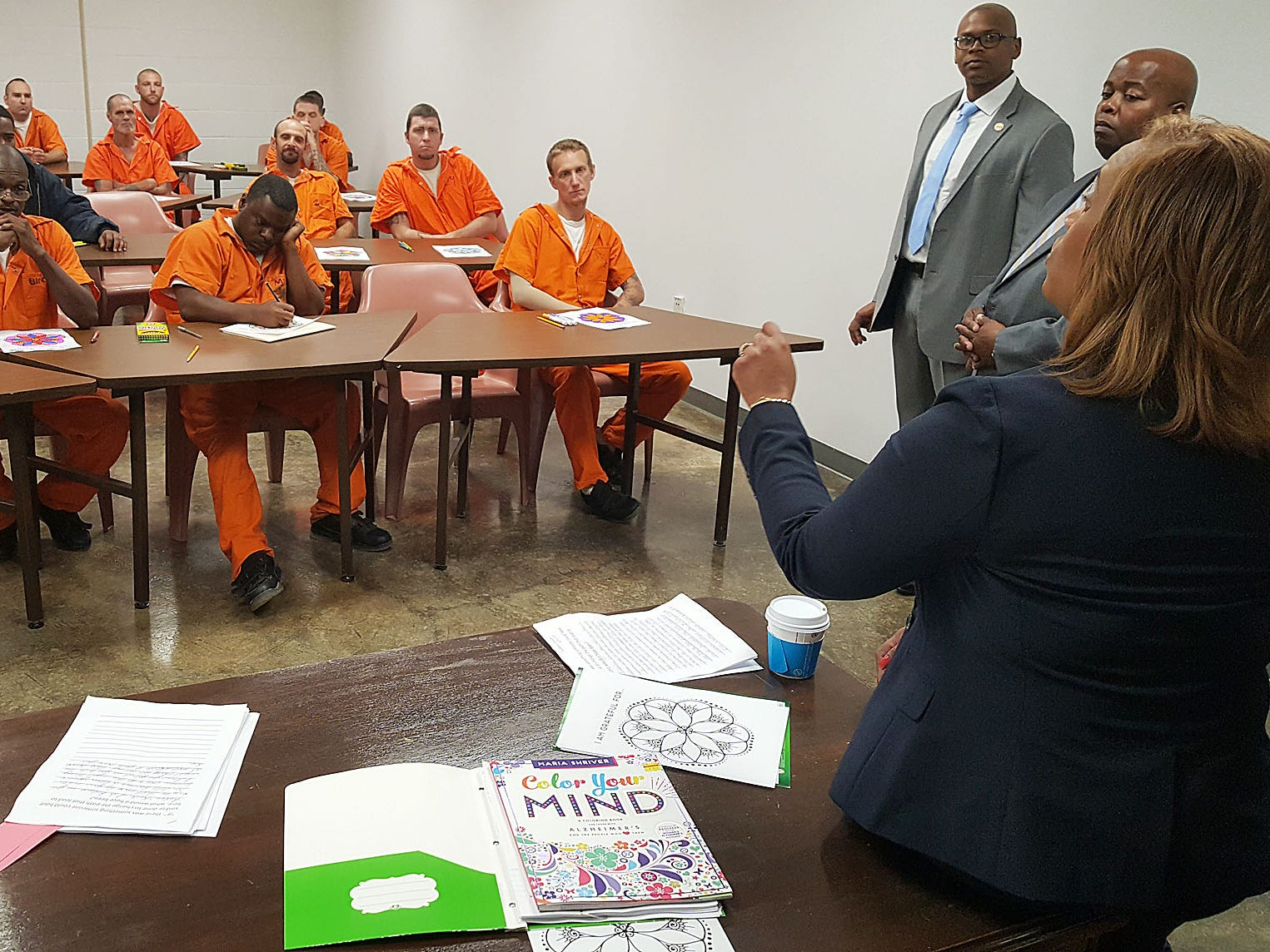 Mississippi Corrections Commissioner Pelicia Hall speaks to offenders at the Technical Violations Center in Greenwood. The center, housed in the old Delta Correctional Facility, is designed to keep offenders from returning to prison if they are guilty only of a few technical violations.