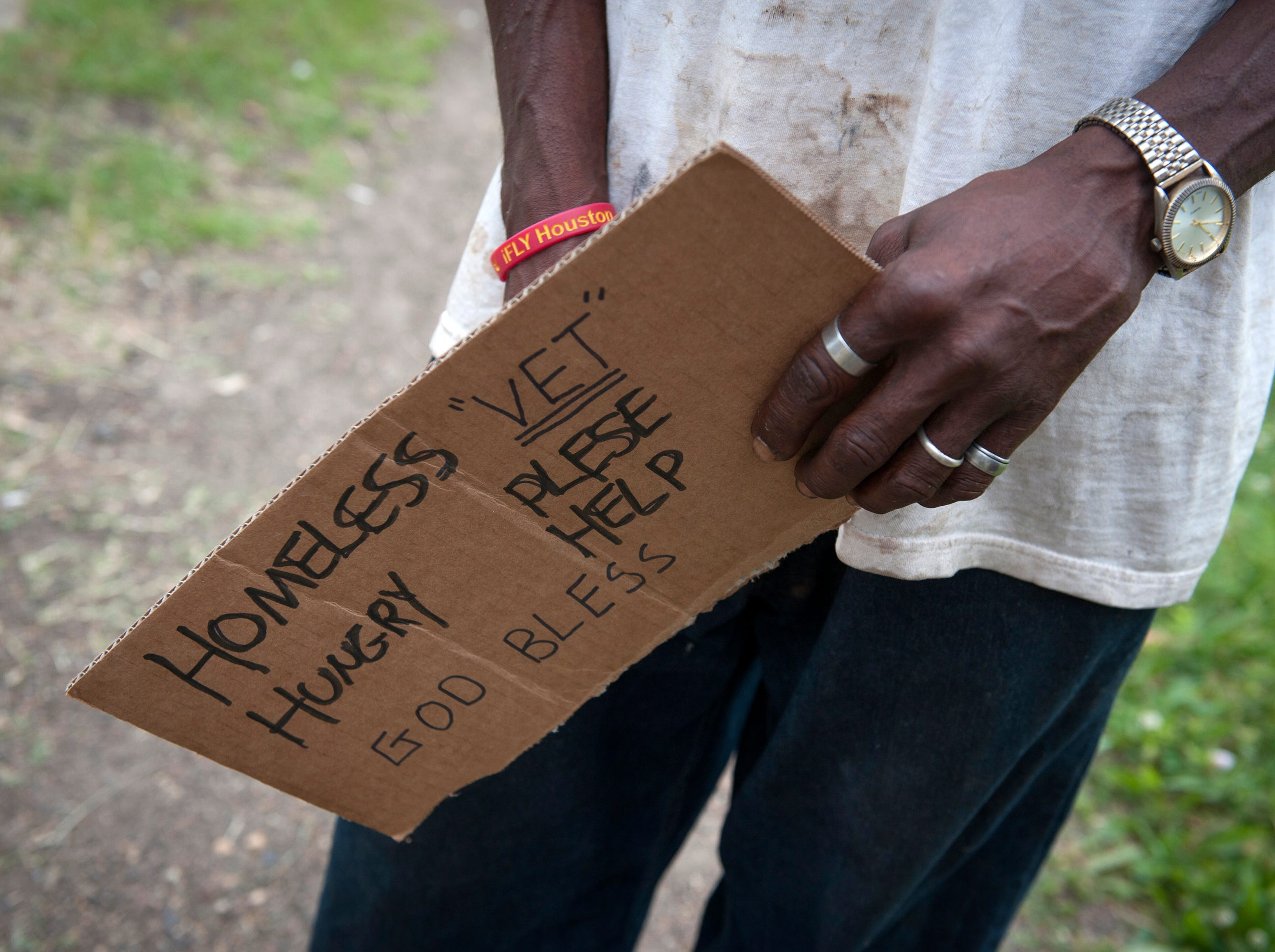 Just as his sign reads, Dan is homeless and a veteran. He admits, though, that problems with alcoholism have caused him trouble in the past and continue to be an issue.