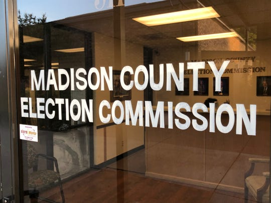 The Madison County Election Commission building appears deceivingly quiet during its busiest day of the year on May 7 in Jackson, Tenn.