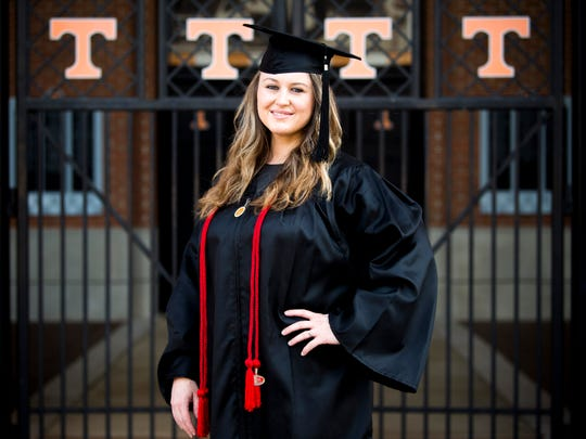 Carrie Compton, photographed on the University of Tennessee's campus on Wednesday, May 8, 2019, will be graduating from UT with a degree in interior architecture.