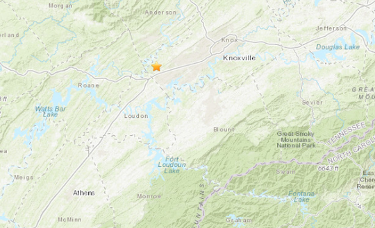 An earthquake was reported in Farragut, Tennessee, on May 8, 2019.