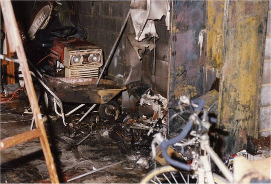 The resulting damage in the O'Leary family garage after the fire.
