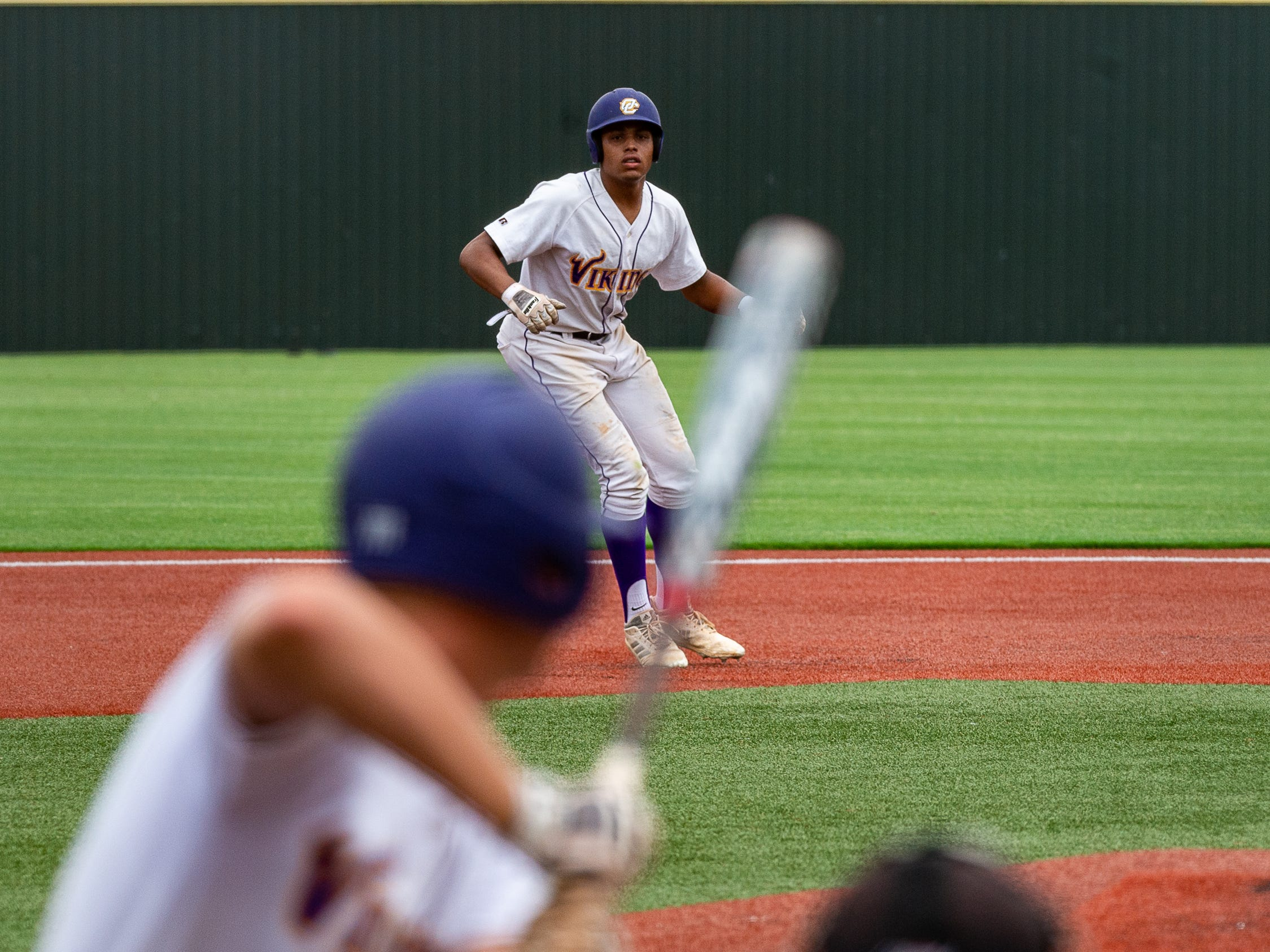 Outfielder Devin Thierry takes a lead from second as  Opelousas Catholic takes on Ascension Catholic in the Div IV Semi Final game of the LHSAA State Baseball Championship. Wednesday, May 8, 2019.