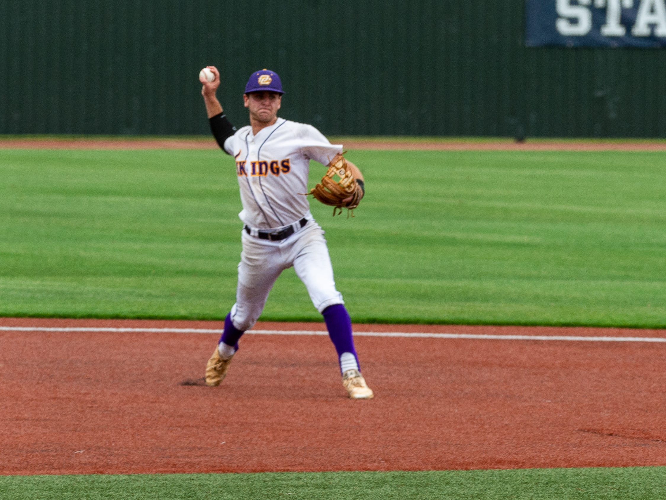 Shortstop Zach Mengarelli throws down to first as Opelousas Catholic takes on Ascension Catholic in the Div IV Semi Final game of the LHSAA State Baseball Championship. Wednesday, May 8, 2019.