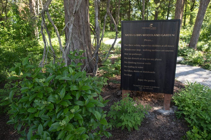 A sign near the main entrance into the wooded area of the new Woodland Garden area in the Parkland of Floyd's Fork Broad Run Park area. May 7, 2019