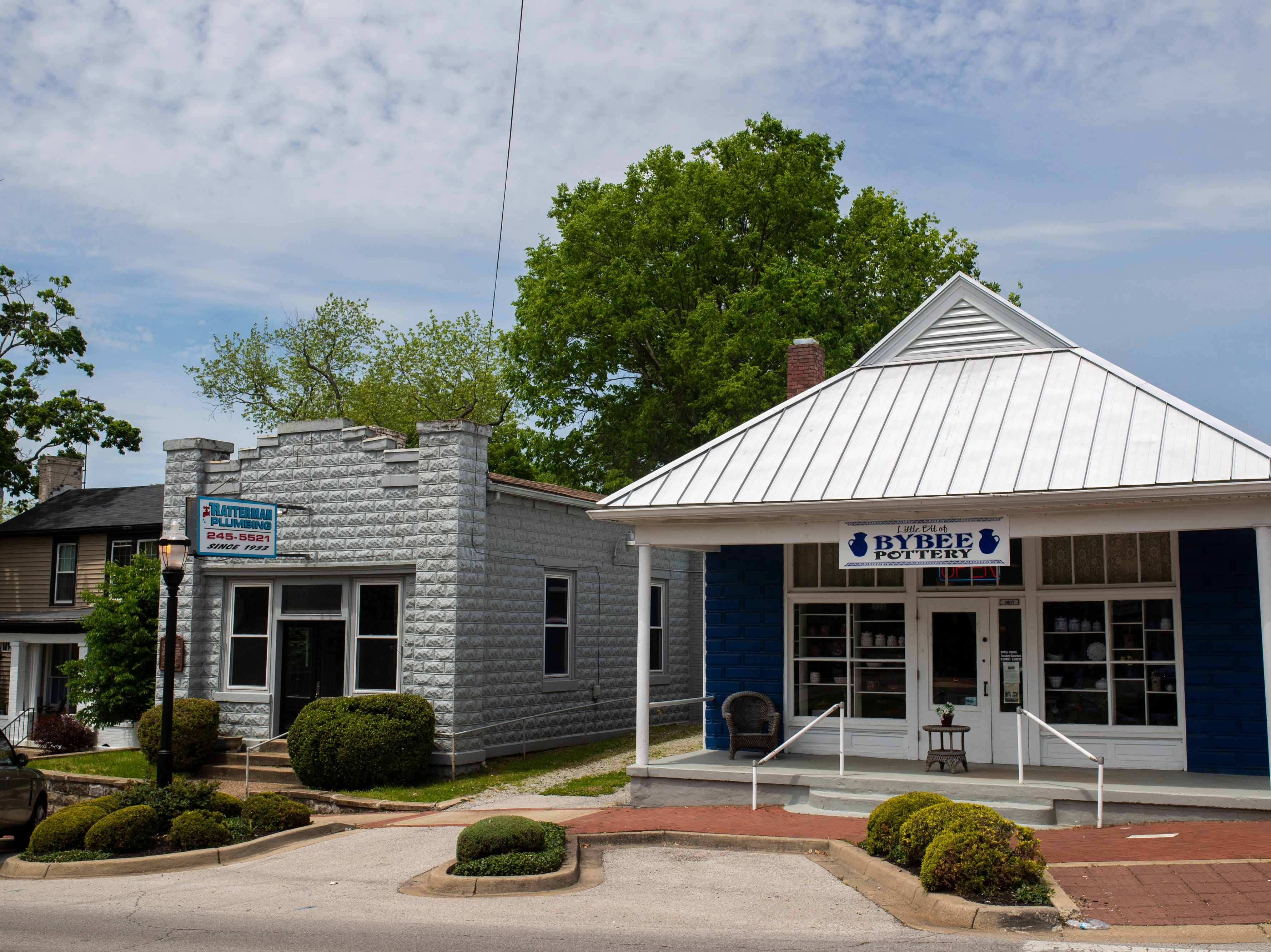 Outside the Little Bit of Bybee pottery shop in the Middletown neighborhood. May 8, 2019