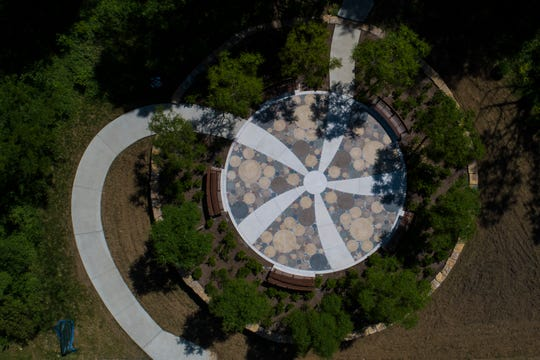 An aerial of a stone courtyard in the new Woodland Garden area in the Parkland of Floyd's Fork Broad Run Park area. May 7, 2019