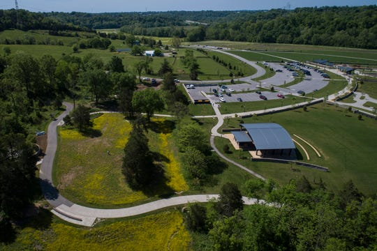 An overview of the parking area and the Woodland Pavilion near the new Woodland Garden area in the Parkland of Floyd's Fork Broad Run Park area. May 7, 2019
