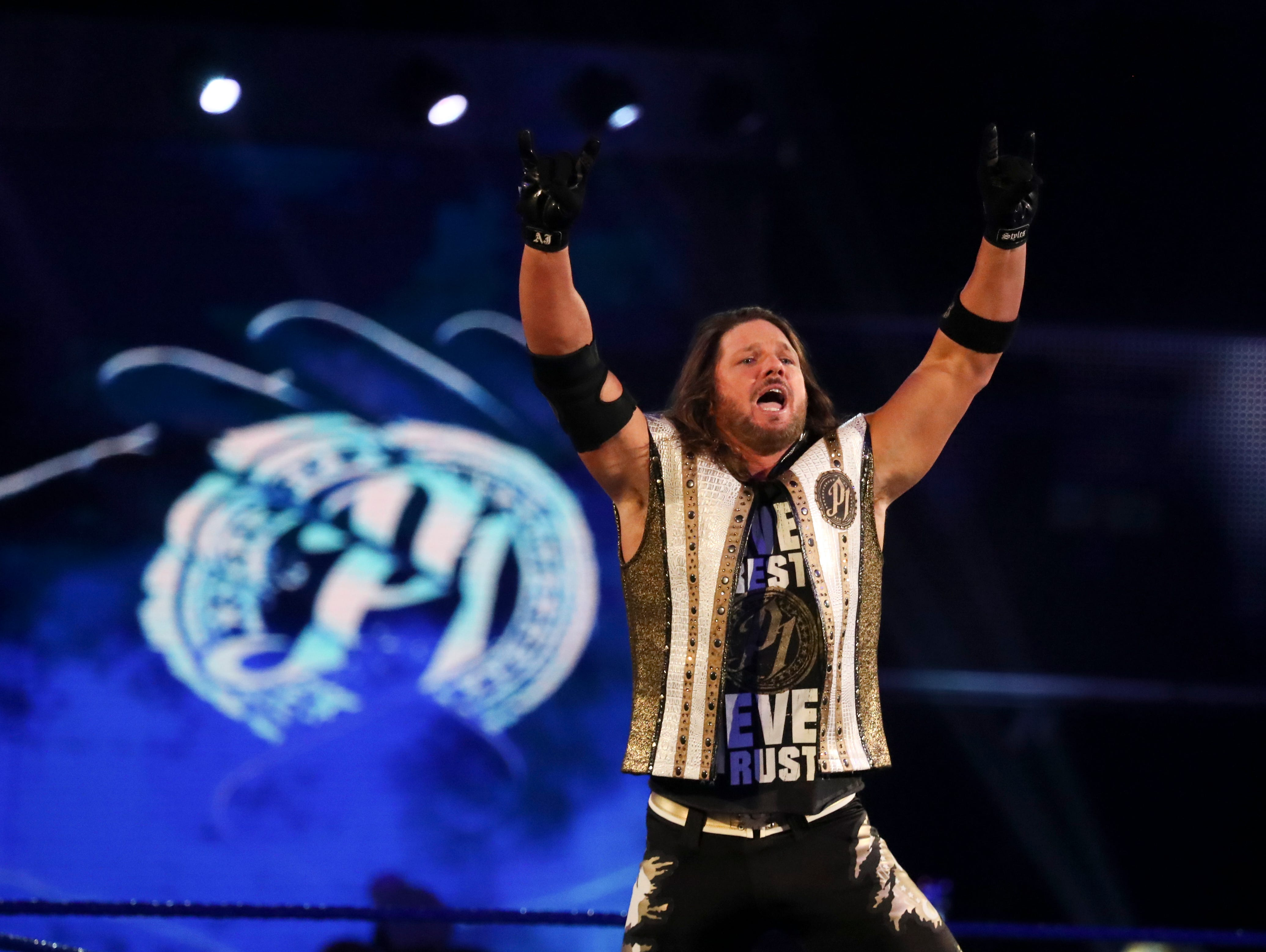 A.J. Styles pumps up the crowd during WWE Smackdown on May 7.