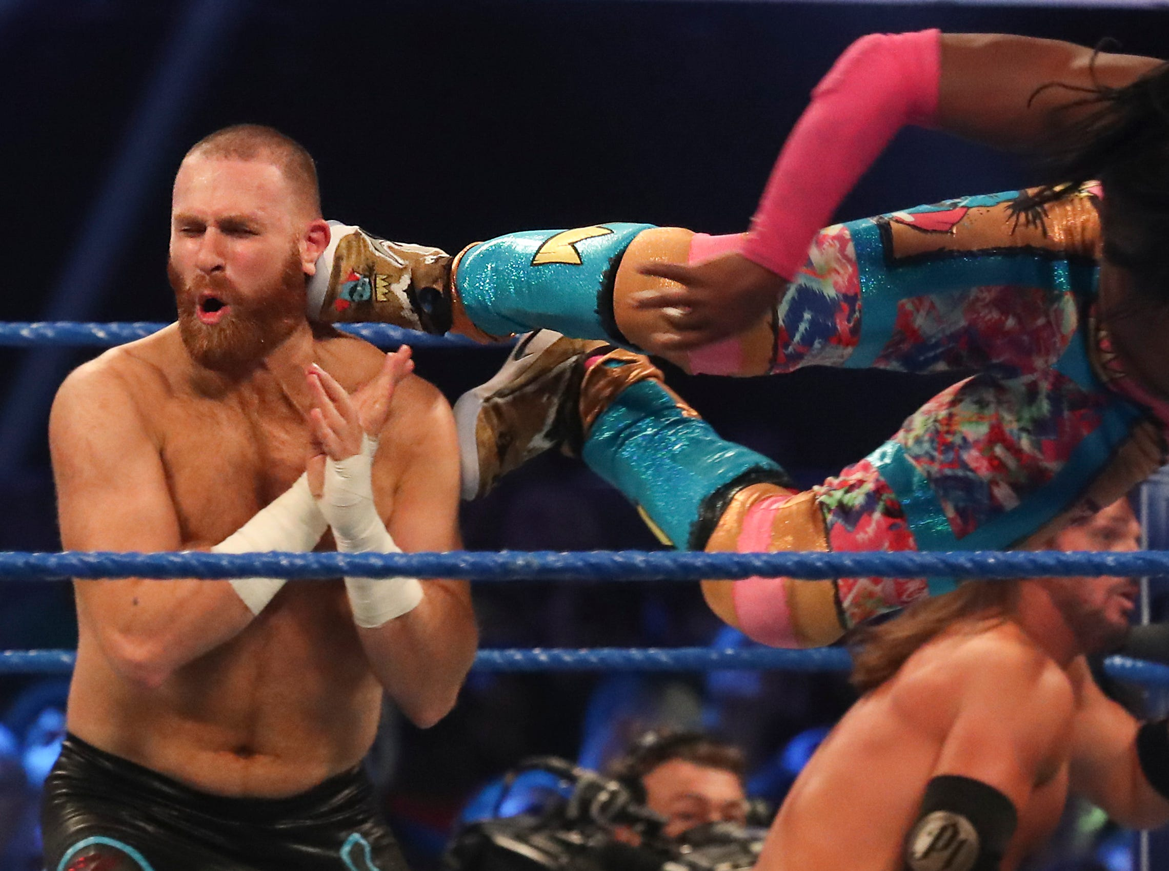 Sami Zayn takes a kick to the head from Kofi Kingston during WWE Smackdown on May 7.