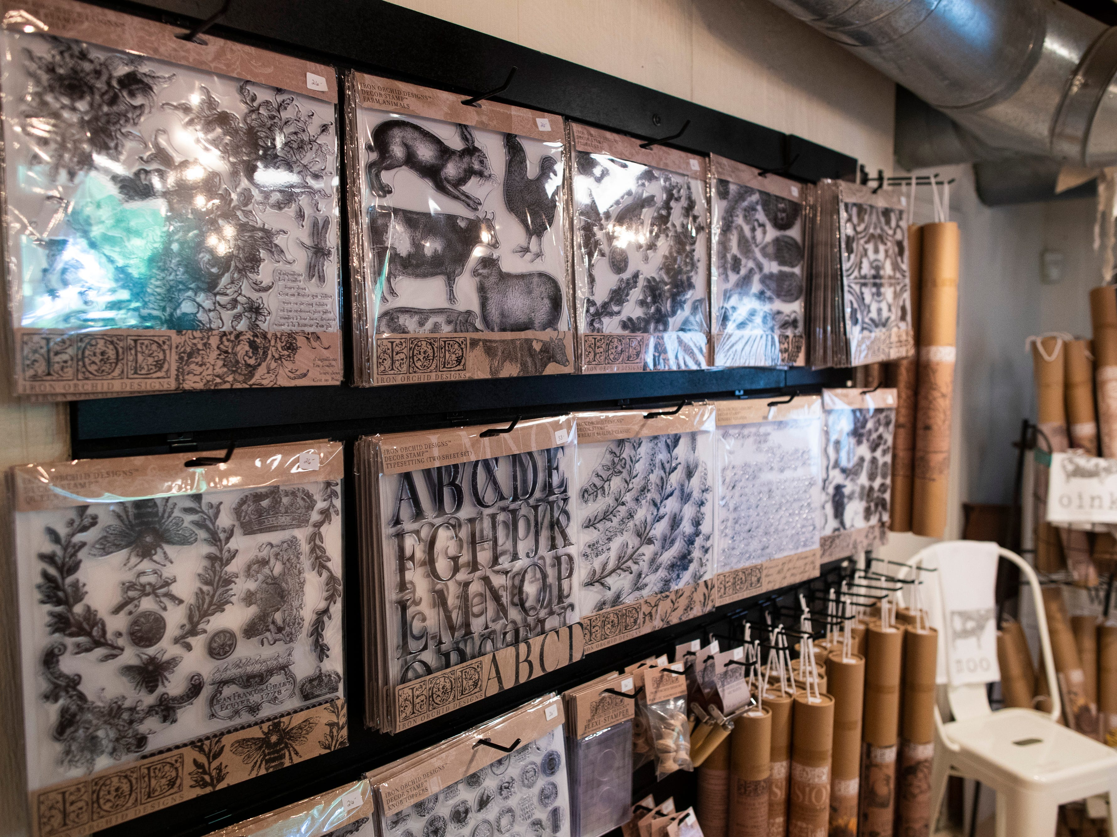 Iron Orchid stamps and transfers used for DIY projects inside Gather in the Middletown neighborhood. May 8, 2019