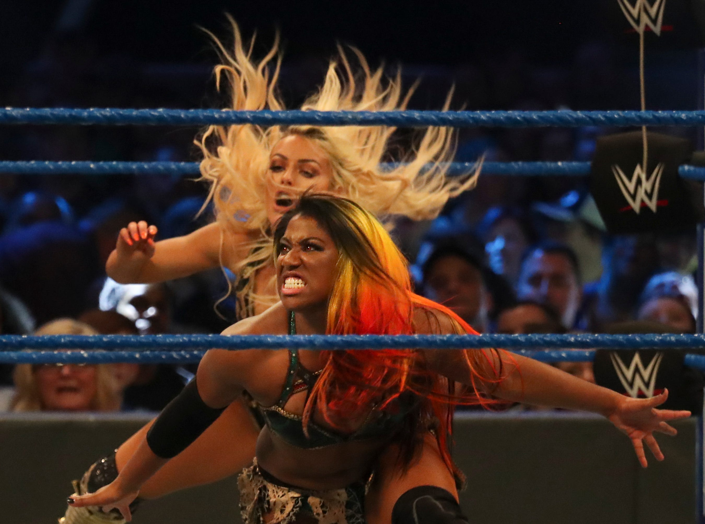 Ember Moon and Carmella take on Mandy Rose and Sonya Deville during WWE Smackdown on May 7.