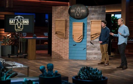 "Entrepreneurs Harrison Broadhurst, left, and Christopher Rannefors from Kentucky, pitch their line of designer bat houses for an effective natural solution to pest control on the season finale of ""Shark Tank."" Their company is called BatBnB. The show airs Sunday at 10 p.m. on The ABC Television Network. (ABC/Eric McCandless)"