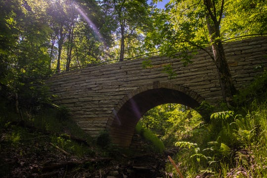 The large stone bridge in the new Woodland Garden area in the Parkland of Floyd's Fork Broad Run Park area. May 7, 2019