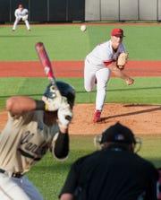 Freshman University of Louisville starting pitcher Jack Perkins throws to Vanderbilt's Austin Martin. May 7, 2019