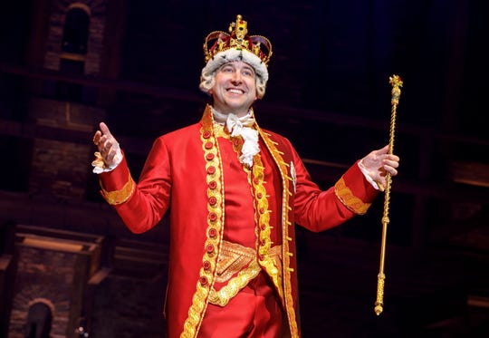 "Peter Matthew Smith as King George in ""Hamilton."""