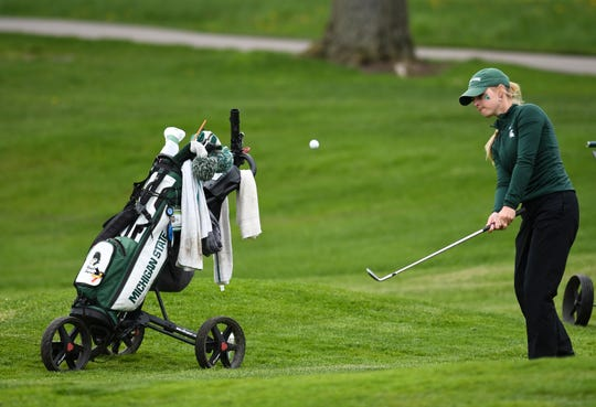 Michigan State freshman Haylin Harris works her way onto the green Wednesday, May 8, 2019, during the NCAA Div. 1 women's golf regional at Forest Akers West in East Lansing.