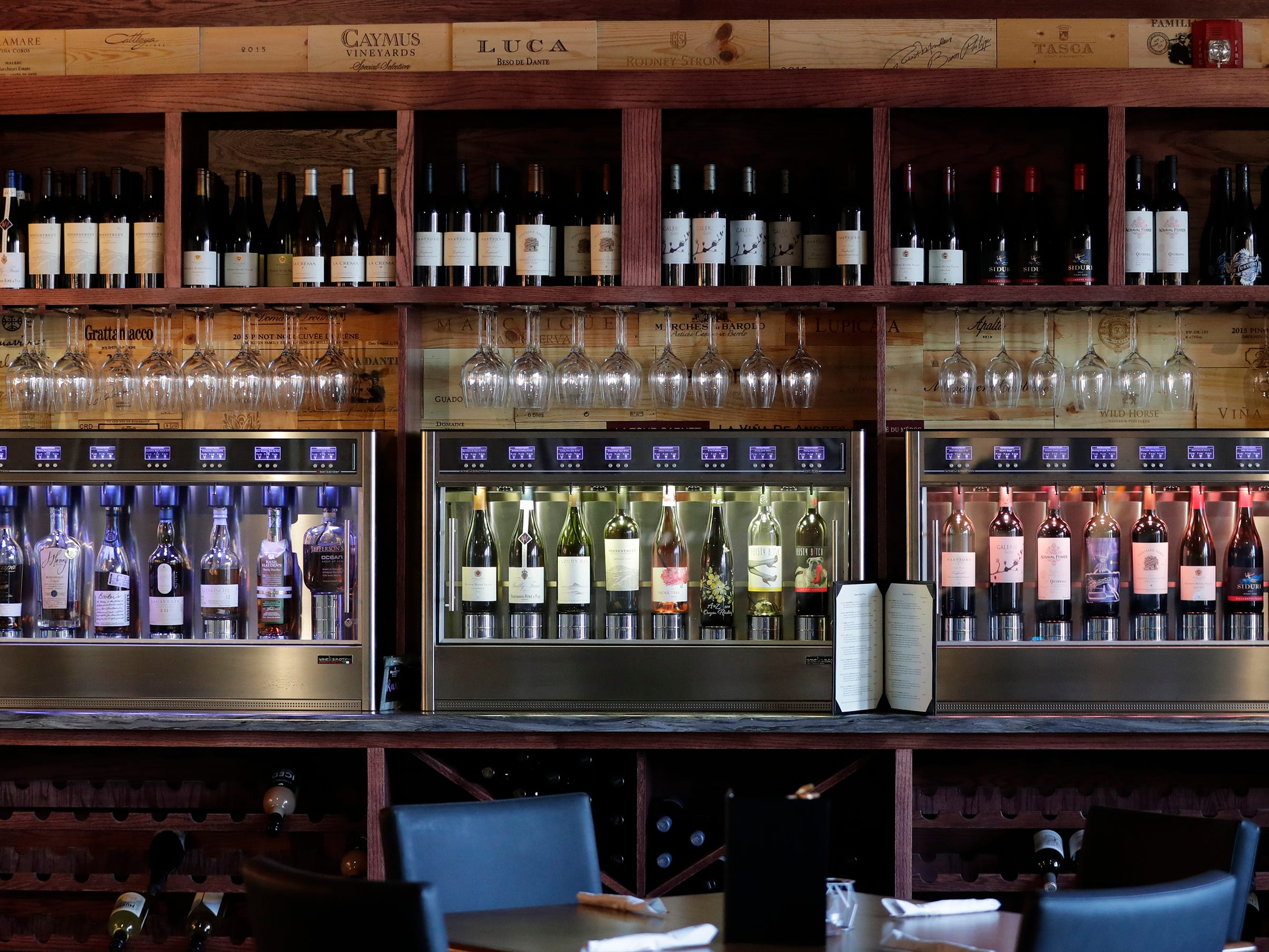 The self-service wine machine at the Waterfront Wine Bar Saturday, May 4, 2019, in Manitowoc, Wis. Joshua Clark/USA TODAY NETWORK-Wisconsin