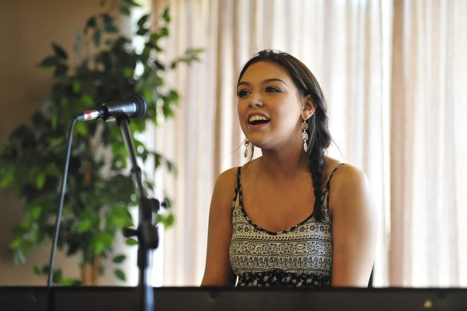 Emily Raff, 18, of Ontario, performs during the auditions of Mansfield's Got Talent.