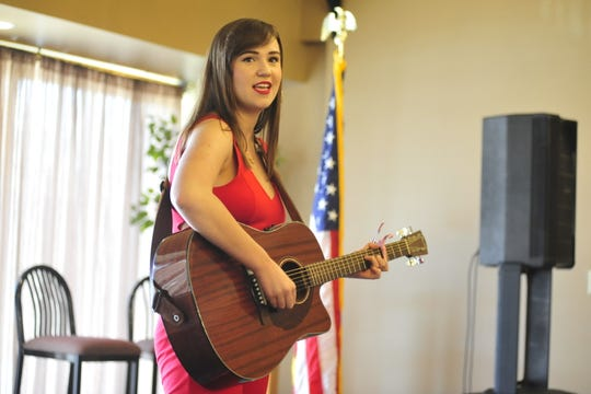 Ellie Nickoli, 16, of Lexington, auditions for this summer's Mansfield's Got Talent competition.