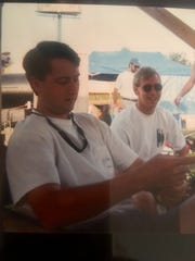 Founding members of Barbecue Republic Raymond Williams and Bryan Hallum hanging out at Memphis in May WCBCC in 1995.