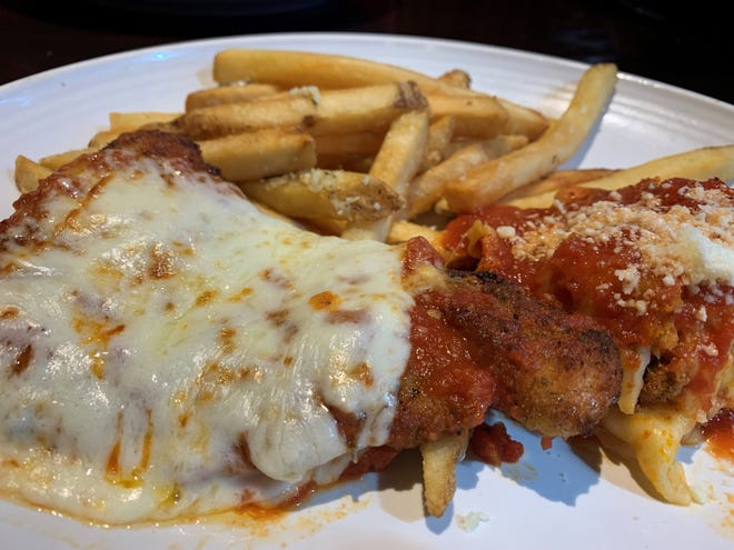 Chicken parmesan and lasagna from Carrabba's, South Naples.