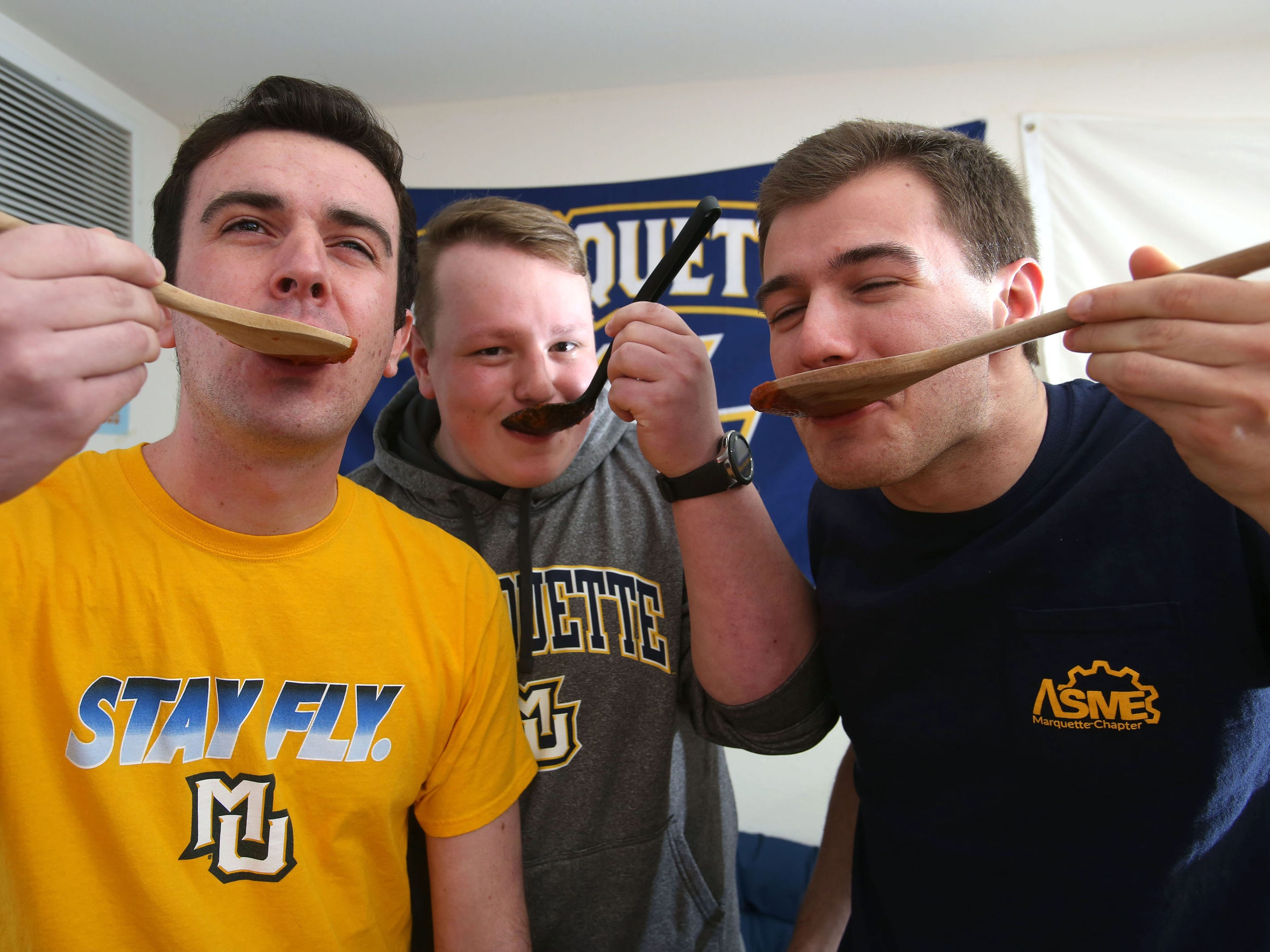 The three Marquette University mechanical engineering majors who started 526 Pasta are James McKenna, from left, Chris Malliet and Phil Parisi. A fourth engineering senior, Rachel Witt, joined their pasta team.
