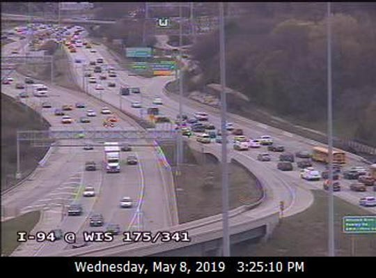Traffic is seen moving through the Stadium Interchange. The state DOT is reporting that a crash has closed the ramp from northbound 175 to westbound I-94.