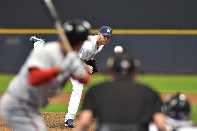 May 8, 2019; Milwaukee, WI, USA;  Milwaukee Brewers pitcher Brandon Woodruff (53) delivers a pitch in the fourth inning against the Washinton Nationals at Miller Park. Mandatory Credit: Michael McLoone-USA TODAY Sports