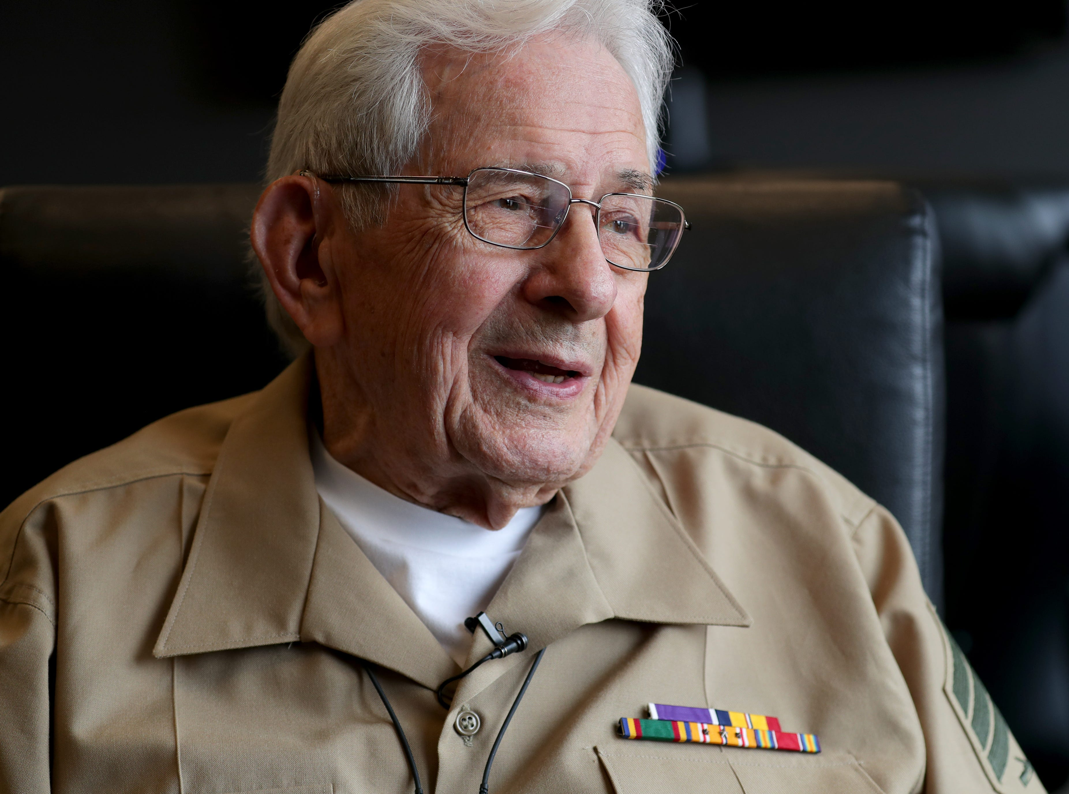 Sgt. Edgar Harrell tells his story of survival during the USS Indianapolis sinking before he spoke at Spectrum Investment Advisors, 6329 W. Mequon Road in Mequon, on Wednesday.