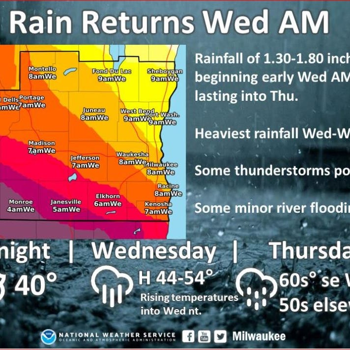 Thunderstorms could dump as much as 2 inches of rain on the state