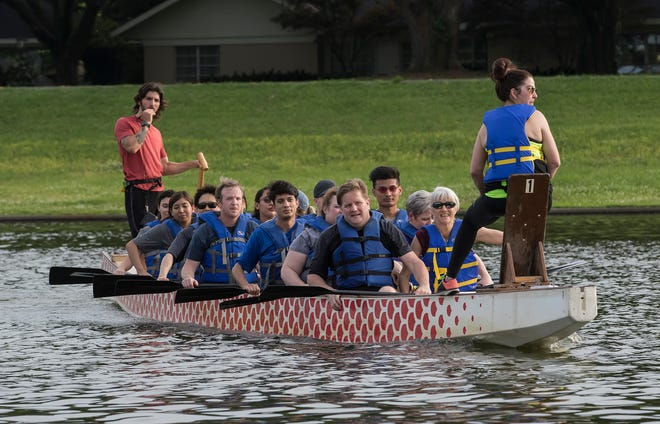 A dragon boat crew practices on Bayou DeSiard for Saturday's dragon boat races held by the Children's Coalition of Northeast Louisiana in Monroe, La. The event is the largest fundraiser of year for the Children's Coaltion said Sara Floyd, a spokeswoman for the event.
