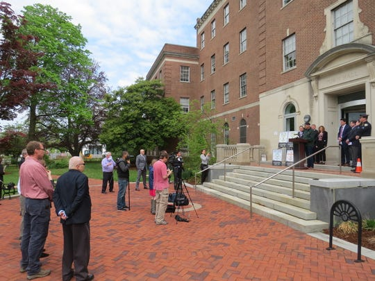 Morristown and TransOptions announce the launch of a new Street Smart pedestrian safety campaign outside town hall in Morristown. Mayor and police said pedestrians and motorists will be targeted. May 8, 2019
