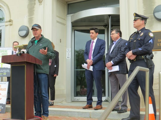 Mayor Timothy Dougherty announced a new Street Smart initiative on Wednesday to keep pedestrians safe. Flanked by local elected leaders and police, the mayor spoke outside Morristown's town hall.