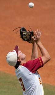 Morgan Academy's Jeremy Lee catches a pop up against Pike Liberal Arts in the AISA AAA State Championship series at Riverwalk Stadium in Montgomery, Ala., on Wednesday May 8, 2019.