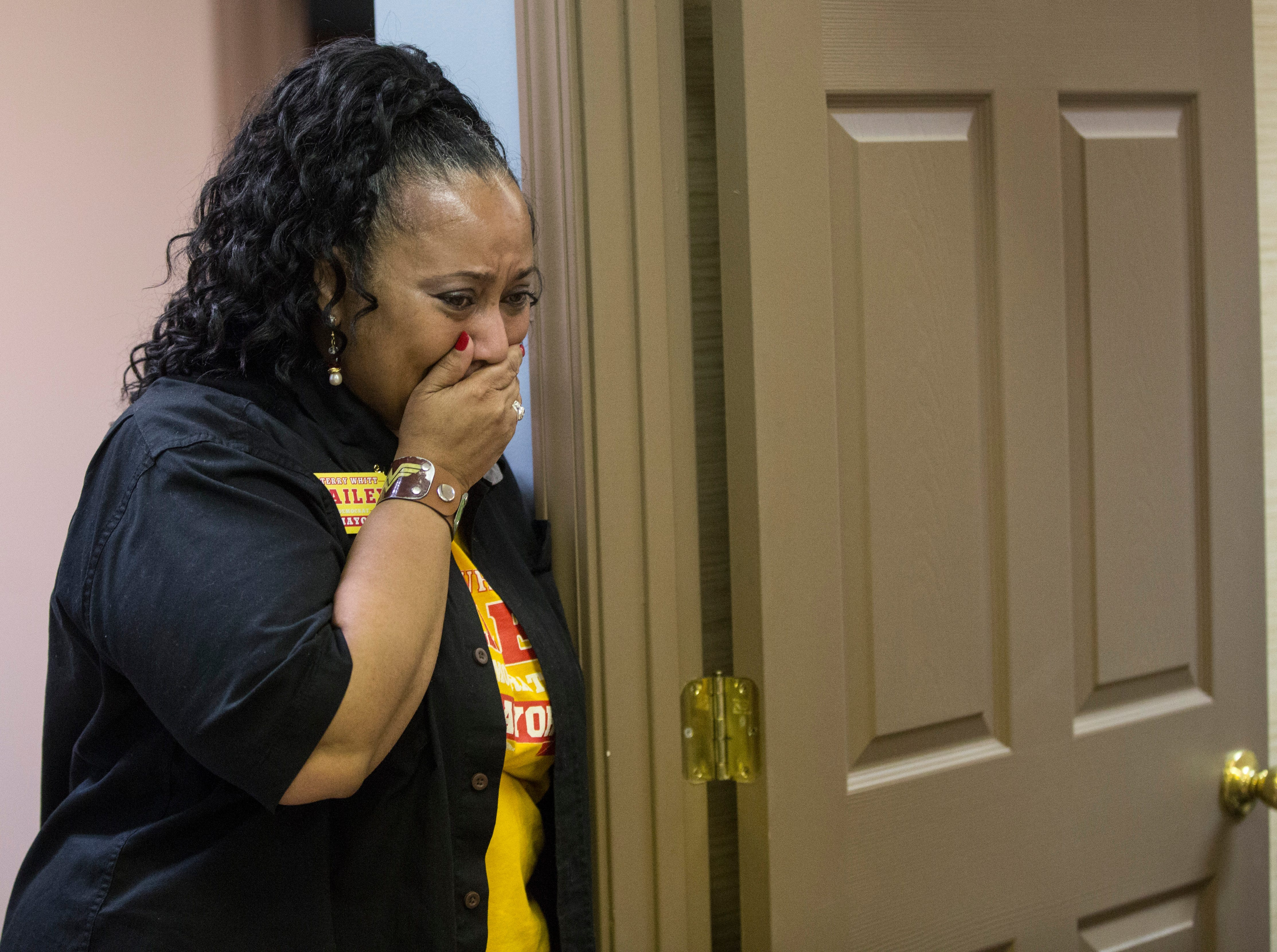 Terry Whitt Bailey is overcome with emotion as she learns she won the Democratic nomination for Muncie's Mayor in the May 7 primary. Bailey won the election with 1,791 votes.