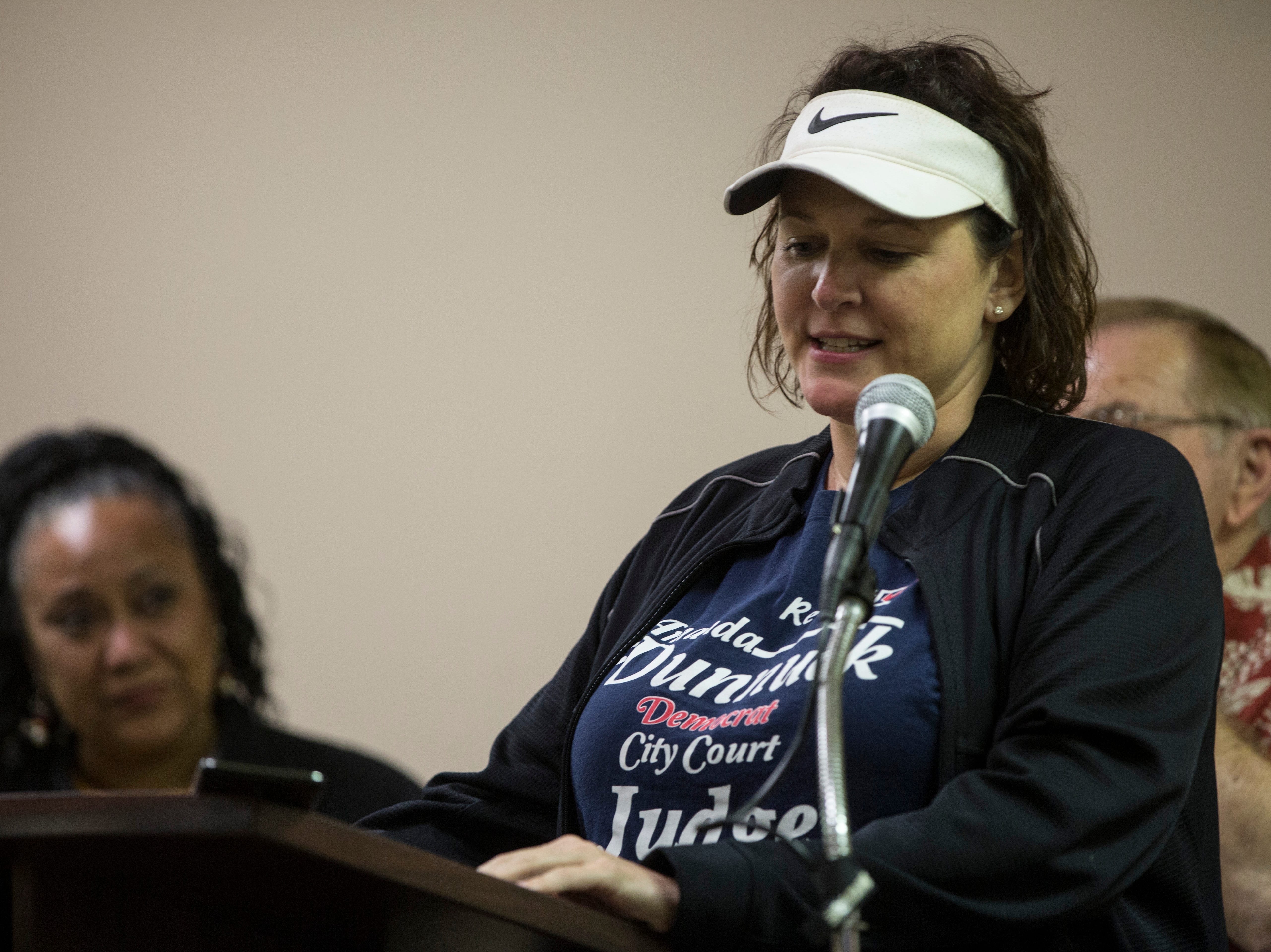 Amanda Dunnuck gives her victory speech at the Democratic Party's downtown headquarters on Tuesday night.