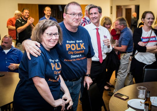 Republican Brad Polk, who won his party's nomination for another term on Muncie City Council, celebrates with supporters at the Knights of Columbus Tuesday night.