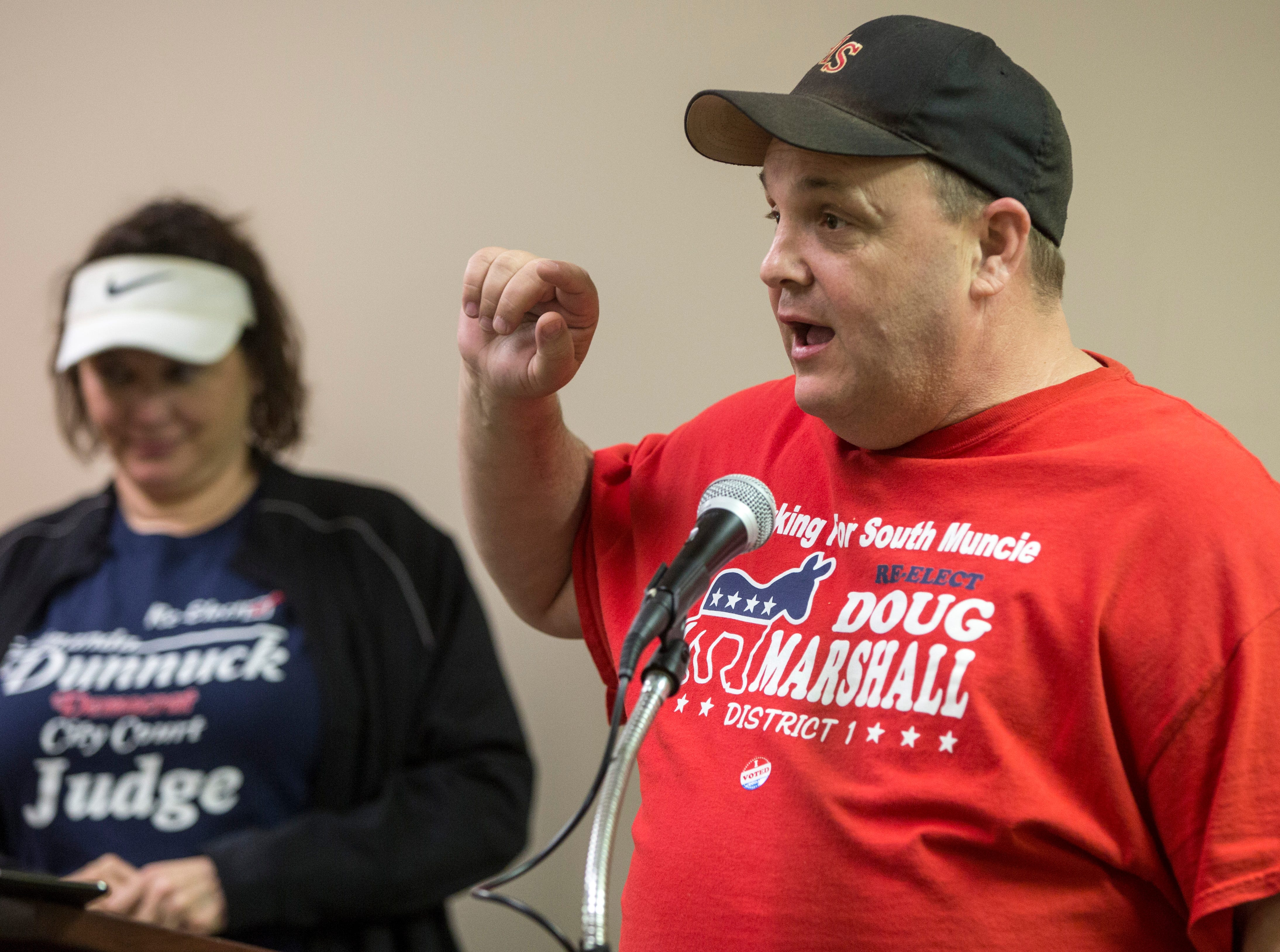 Doug Marshall gives a short victory speech at the Democratic Party's downtown headquarters on Tuesday night. Marshall, while not being challenged in the primary, will face off against a Republican in November.