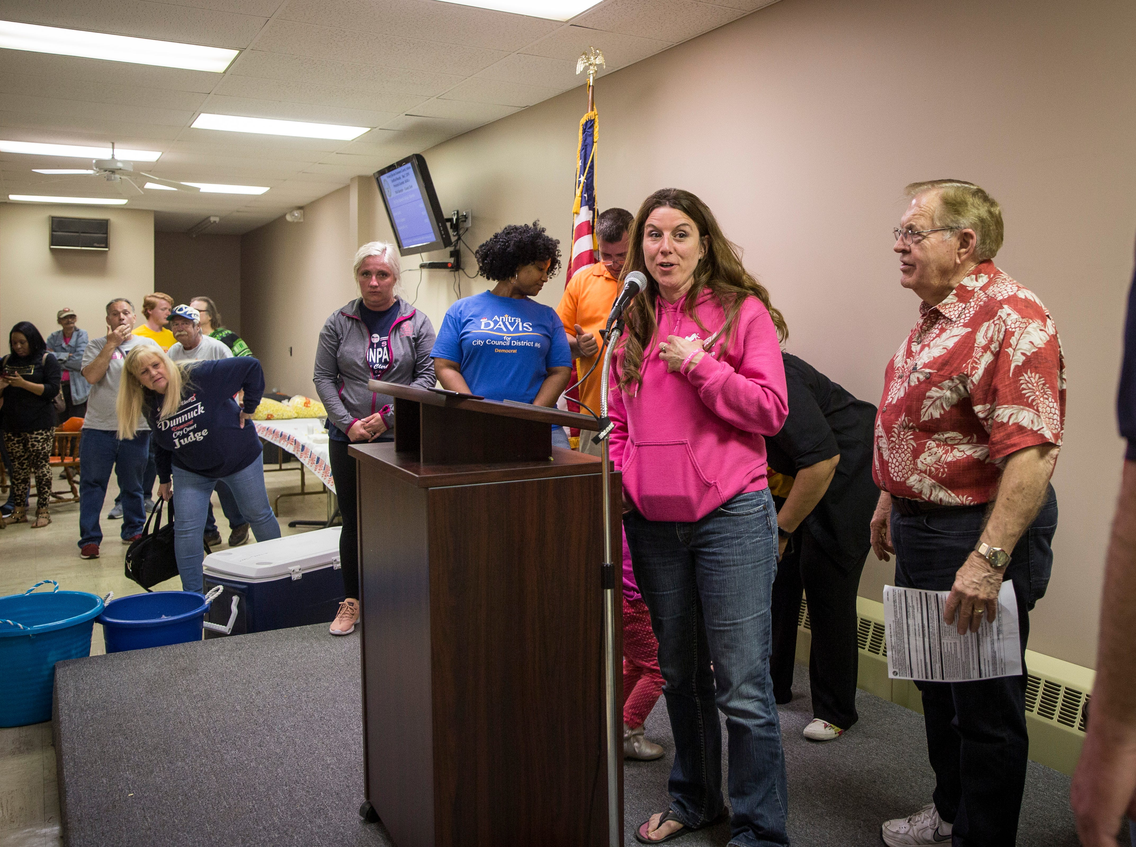 Muncie City Council member Nora Powell gives her victory speech at the Democratic Party's downtown headquarters on Tuesday night.