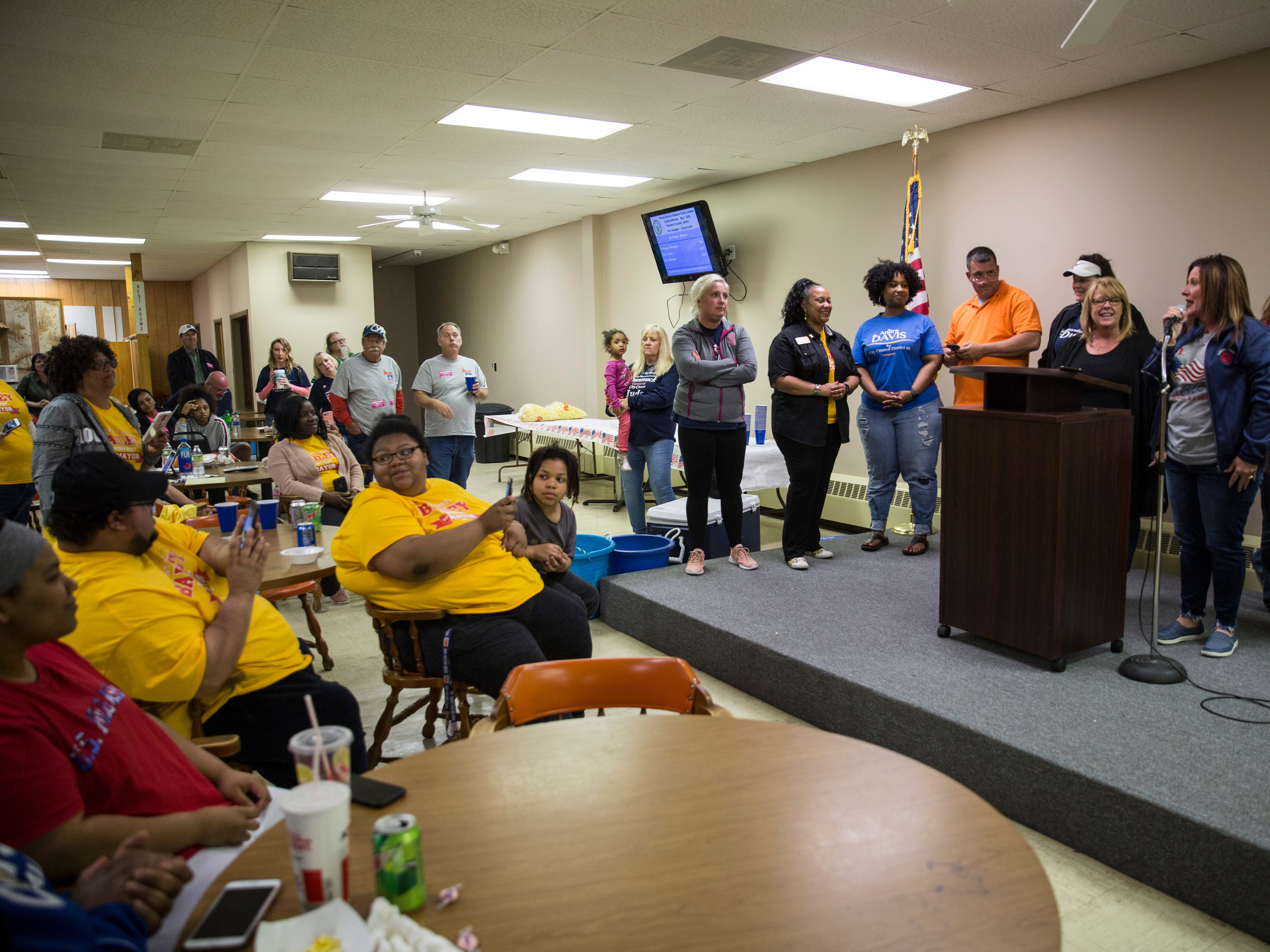 Candidates that won their nominations give a victory speech at the Democratic Party's downtown headquarters on Tuesday night.