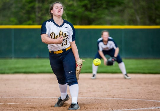 Delta's Natasha Coy pitches against Wapahani during their championship game at Wes-Del High School Tuesday, May 7, 2019.