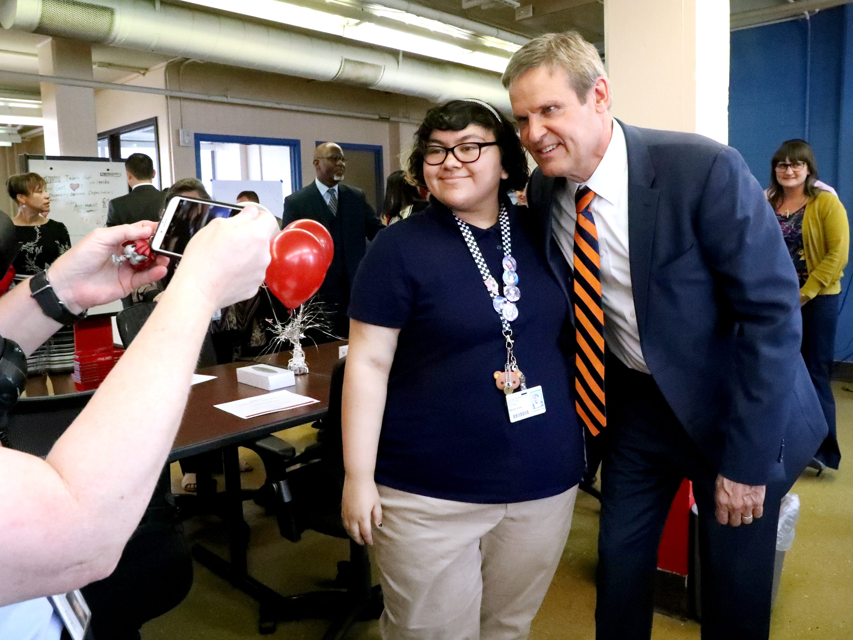 Tennessee Governor Bill Lee takes photo with Mariah M. Hulse, one of the students in the Certified Pharmacy Technician Program at the Tennessee Rehabilitation Center, during a CVS/TRC-Smyrna Mock Store Grand Opening Ceremony on Wednesday, May 8, 2019, at the Tennessee Rehabilitation Center, in Smyrna.
